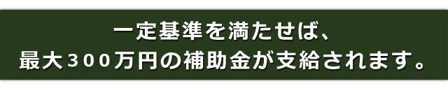 一定基準を満たせば、最大300万円の補助金が支給されます。