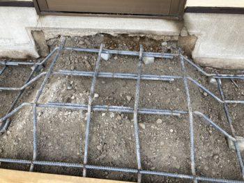 【排水配管再施工後の配筋工事】